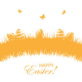 Orange background with Easter eggs Royalty Free Stock Photo