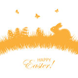 Orange background with Easter eggs and rabbit Stock Photo