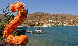 Orange on background Elounda. Orange figure on background Elounda, Crete, Greece Stock Photo