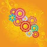 Orange background  with  flowers Royalty Free Stock Photography