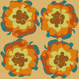 Orange background with flowers. Orange background flowers with multicolored petals of the autumn colours in the style of retro Royalty Free Stock Images