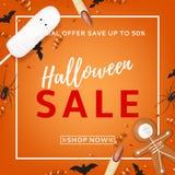 Orange background for halloween sale stock illustration