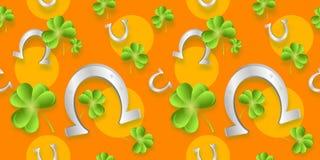 Orange background with horseshoe Stock Images