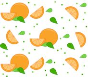 Orange background with leaves and dots. Orange background with leaves and dot pattern over white. Clean design of seamless orange pattern Royalty Free Stock Photography