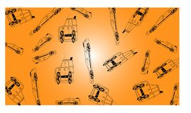 Orange background with many off road cars - vector illustration vector illustration