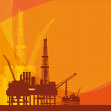 Orange  background with oil platform,  Royalty Free Stock Photos