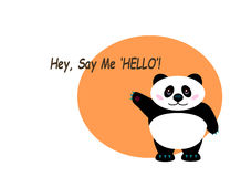 "Orange background with a panda waving its paw and saying ""Hell Royalty Free Stock Image"