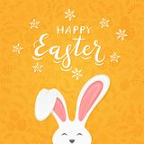 Orange background with pattern and text Happy Easter with rabbit. Cute Easter rabbit with ears and lettering Happy Easter on orange background with floral royalty free illustration