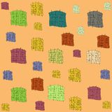 Orange background patterns colored squares of different size vector illustration