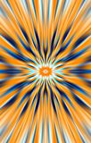 Orange background. Rays and folds diverge from the middle to the edges. Abstract unique, background. Illustration and decoration. Orange and blue colors on a stock illustration
