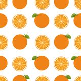 Orange background. Seamless pattern with оranges. Flat style.   Stock Photos