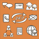 Orange background with set of call-centre icons Stock Photo