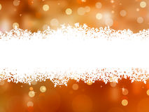 Orange background with snowflakes. EPS 8 Stock Photography