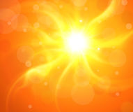 Orange background with sun. Orange background with glaring sun, vector sunny illustration Stock Photo