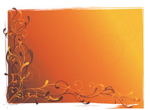Orange background with swirls. Vector illustration of swirls on orange grunge background Stock Photo