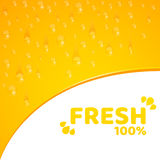Orange background, template for your projects. 100 percent freshly squeezed orange juice. Flowing drops of water. Rounded notch. V Royalty Free Stock Image