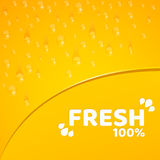 Orange background, template for your projects. 100 percent freshly squeezed orange juice. Water drops. Rounded notch. Vector illus Royalty Free Stock Images
