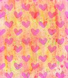 Orange background with urgent hearts and watercolor spots Royalty Free Stock Photo