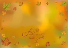 Orange background. Word autumn. Falling leaves. Royalty Free Stock Photography