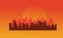 On orange backgrounds urban silhouettes Stock Photo