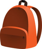 Orange backpack. Simple orange backpack with a pocket Royalty Free Stock Photo