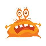 Orange Bacteria Cartoon Vector Character Icon. Bacteria cartoon character with eyes and mouth. Orange funny microbe flat vector illustration isolated on white Stock Photos