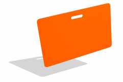 Orange badge. Isolated against white surface stock images