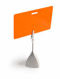 Orange badge. Orange card isolated against white background with the stand royalty free stock image