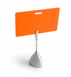 Orange badge. Orange card isolated against white background with the stand royalty free stock images