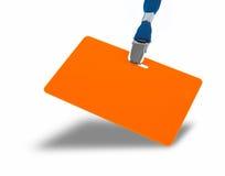 Orange badge on the lanyard. Orange badge and blue lanyard isolated against white background stock photography