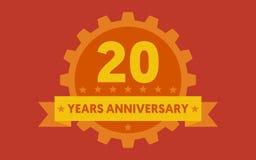 Orange badge of 20 years anniversary Stock Photography