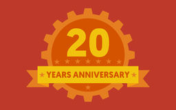 Orange badge of 20 years anniversary Royalty Free Illustration