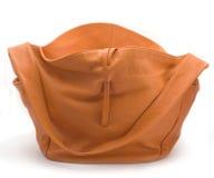 Orange Bag. Leather orange bag isolated on a white background Stock Photos
