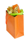 Orange bag with box Stock Photos