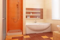 Orange bahtroom interior Stock Image