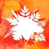 Orange bakgrund för vattenfärghöstlövverk Stock Illustrationer