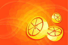 Orange bakgrund med apelsinen. Royaltyfri Fotografi