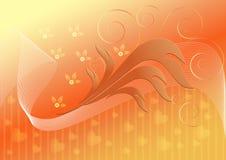 Orange bakgrund med bandet dekorerade hjärtor blommar och virvlar runt Fotografering för Bildbyråer