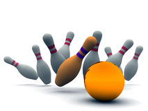 Orange ball and bowling pins. Orange ball for bowling breaking line-up of bowling pins on a white background Royalty Free Stock Photo