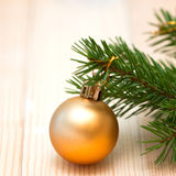 Orange ball on the Christmas tree Stock Photo