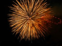 Orange Ball Fireworks Display Stock Photo