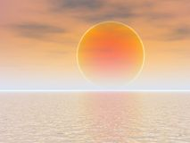 Orange Ball Sunset Over Sea. Sun as Orange Ball Sunset Over Sea Royalty Free Stock Photography