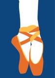 Orange ballet shoes part of ballerina pointe performance | dancer symbol on blue background Stock Images