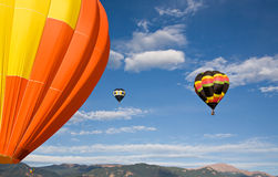 Orange Balloon and Pikes Peak stock photo