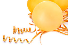 Orange balloons. Orange balloons with gold twisted ribbons on overwhite background Royalty Free Stock Images