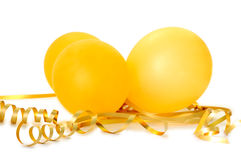 Orange balloons. Orange balloons with gold twisted ribbons on overwhite background Royalty Free Stock Photo