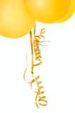 Orange balloons. Orange balloons with gold twisted ribbons on overwhite background Stock Photography