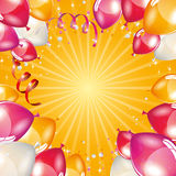Orange balloons background. Vector elements Stock Photos