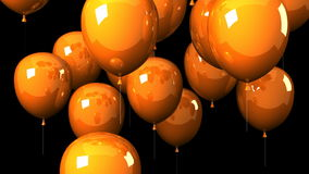 Orange Balloons On Black Background stock video