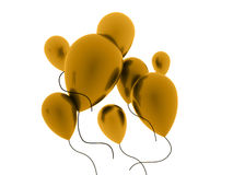 Orange balloons rendered on white Royalty Free Stock Photo